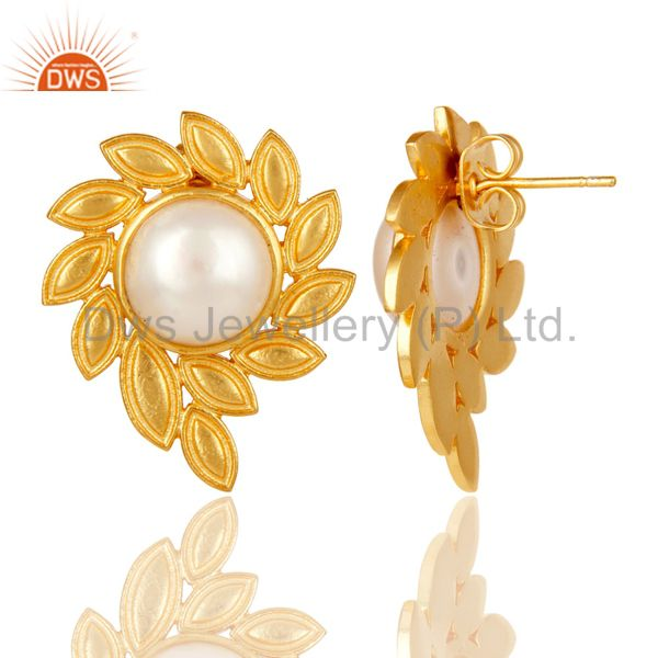Suppliers 14K Gold Plated Handmade Fashion Design Pearl Studs Brass Earrings Jewellery