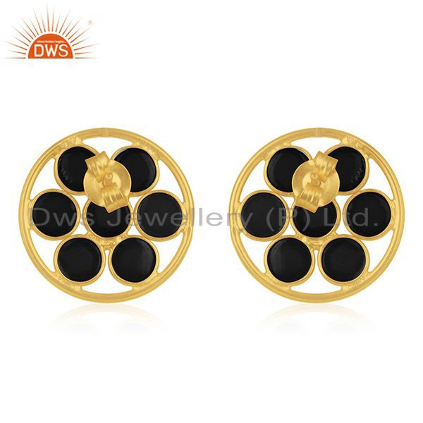 Suppliers Black Onyx Gemstone 925 Silver Gold Plated Stud Earring Manufacturers