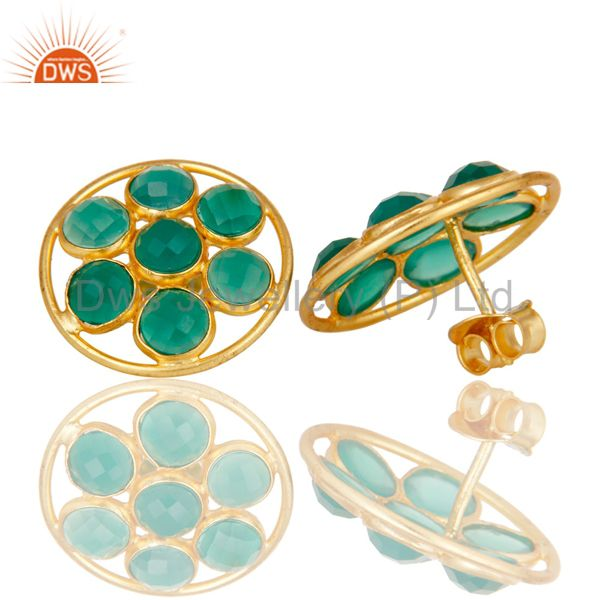 Suppliers 18K Gold Plated Sterling Silver Handmade Green Onyx Bezel Set Gemstone Earrings