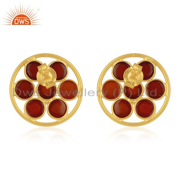 Suppliers Red Onyx Gemstone 925 Silver Gold Plated Stud Earring Wholesale Suppliers