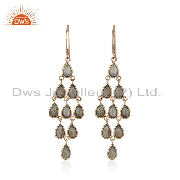 Suppliers Labradorite Gemstone Rose Gold Plated Silver Earrings Manufacturer