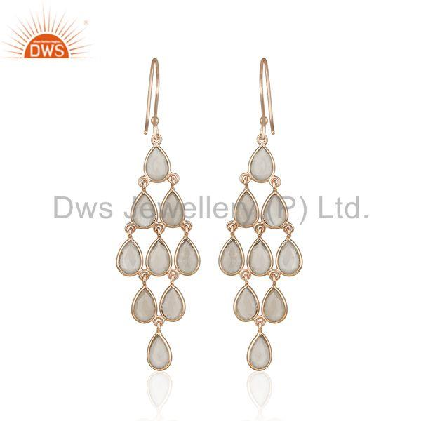 Suppliers 14k Rose Gold Plated 925 Silver Grey Moonstone Earring Supplier from India