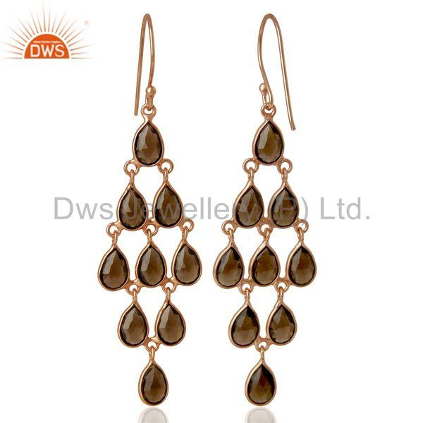 Suppliers Smoky Quartz Gemstone Rose Gold Plated Silver Womens Earrings