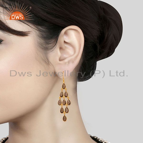 Suppliers 14K Gold Plated 925 Sterling Silver Smokey Topaz Bezel Set Dangle Earrings