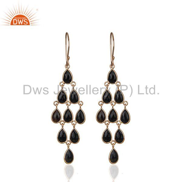 Suppliers Rose Gold Plated 925 Silver Black Onyx Gemstone Dangle Earrings Manufacturer