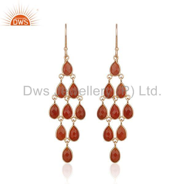 Suppliers Red Onyx Gemstone Rose Gold Plated 925 Silver Dangle Earrings Manufacturer