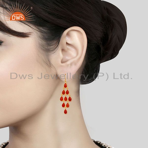 Suppliers 14K Yellow Gold Plated 925 Sterling Silver Red Onyx Bezel Set Dangle Earrings
