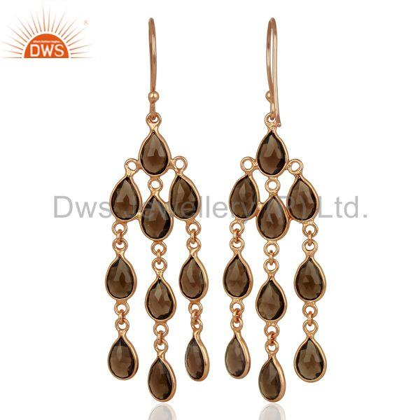 Suppliers Rose Gold Plated Silver Smoky Quartz Gemstone Fashion Earrings