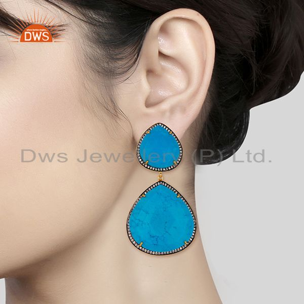 Suppliers 14K Gold Plated & Oxidized Handmade Turquoise & White Zirconia Dangle Earrings