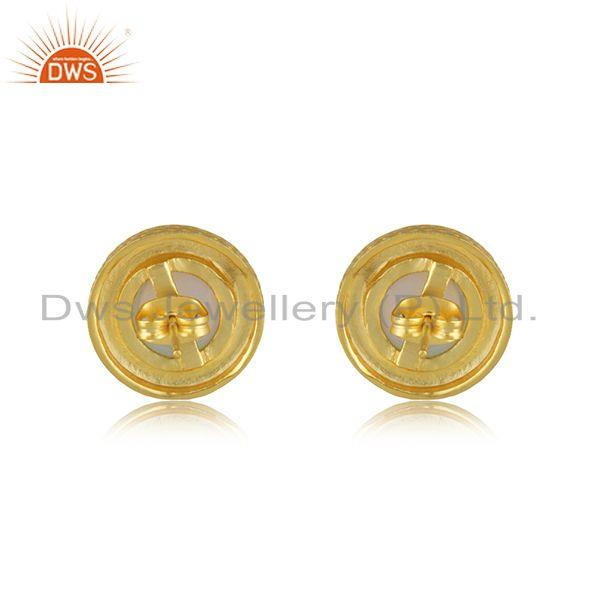 Suppliers Handmade Round Shape Gold Plated Fire Opal Stud Earrings Wholesaler India