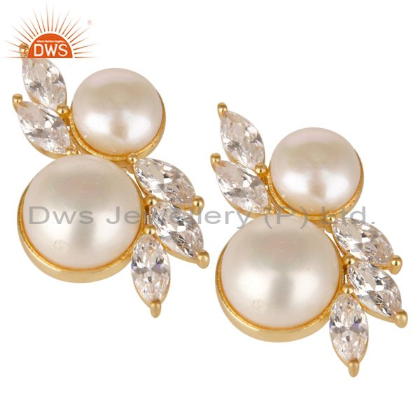 Suppliers 18K Yellow Gold Plated Handmade Pearl & White Zirconia Brass Studs Earrings