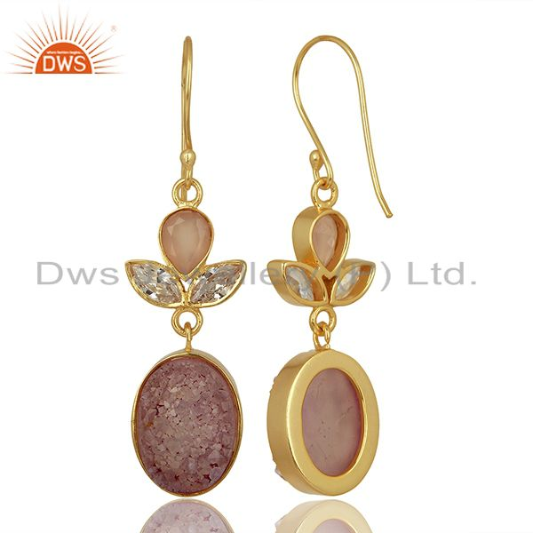 Suppliers CZ and Pink Druzy Gemstone Gold Plated Fashion Designer Earrings