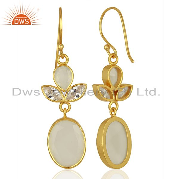 Suppliers Designer Gold Plated CZ White Chalcedony Gemstone Fashion Earrings