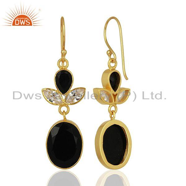 Suppliers CZ and Black Onyx Gemstone Gold Plated Fashion Girl Earrings Supplier