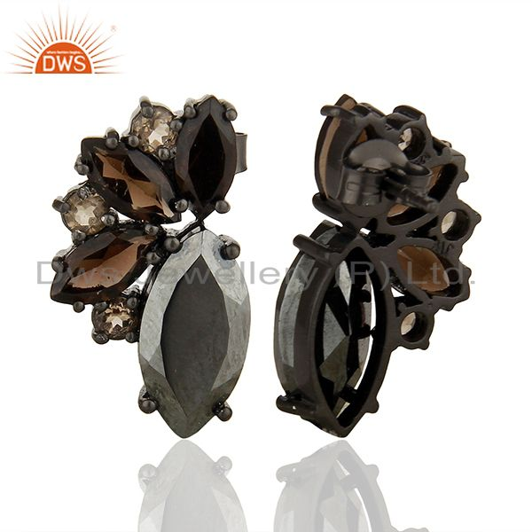 Suppliers Multi Gemstone 925 Silver Black Plating Women Earrings Manufacturers