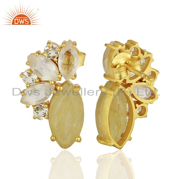 Suppliers Golden Rutile Gemstone 925 Silver Fashion Stud Earrings Jewelry