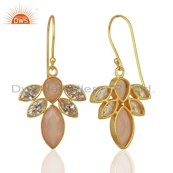 Suppliers CZ Rose Chalcedony Gemstone Gold Plated Brass Fashion Earring Supplier