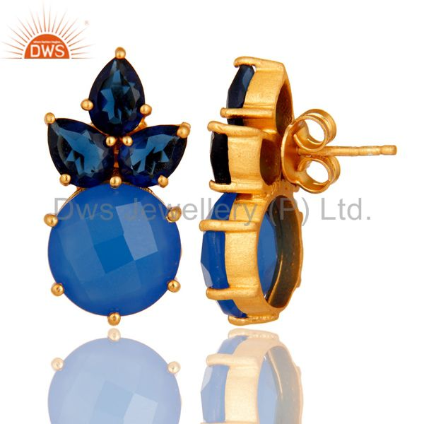 Designers 18K Yellow Gold Plated Sterling Silver Blue Chalcedony Corundum Stud Earrings