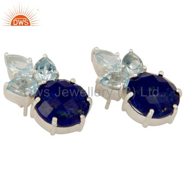 Suppliers 925 Sterling Silver Lapis Lazuli And Blue Topaz Gemstone Cluster Stud Earrings