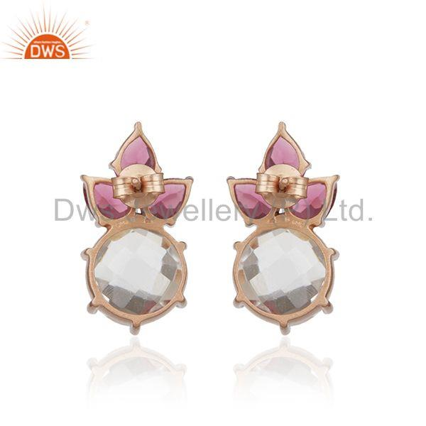 Suppliers Multi Gemstone 925 Sterling Silver Gold Plated Stud Earrings Manufacturer