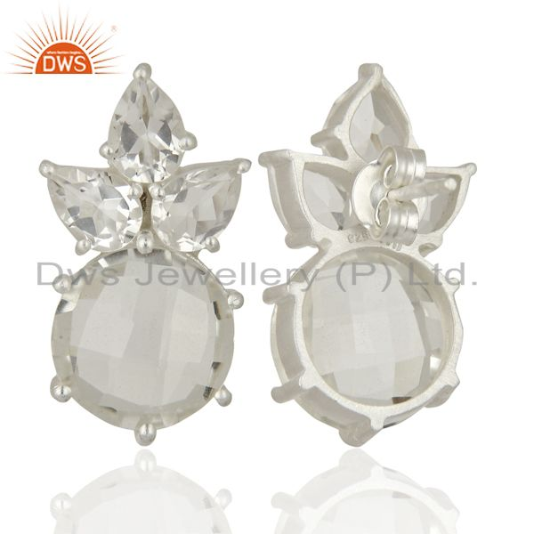 Suppliers Crystal Quartz Gemstone Fine Silver Stud Earrings Jewelry Manufacturer