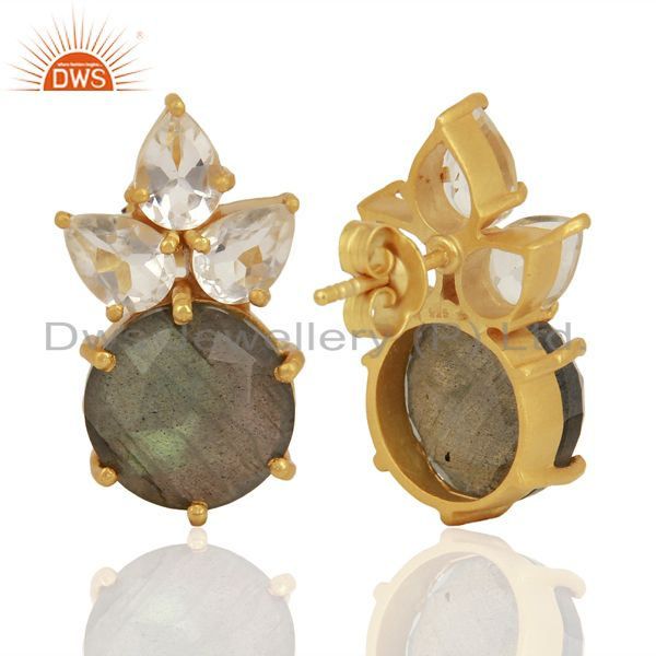 Suppliers Labradorite Crystal Quartz Studs Gold Plated Sterling Silver Earrings Jewelry