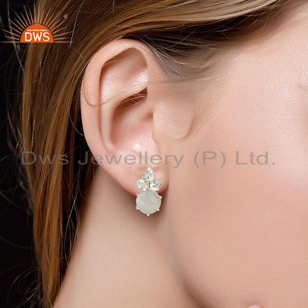 Suppliers Solid Sterling Silver White Moonstone & Crystal Quartz Prong Set Studs Earrings
