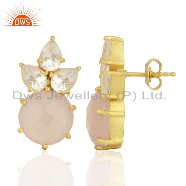 Wholesalers 18K Gold Plated Sterling Silver Crystal Quartz And Chalcedony Post Stud Earrings