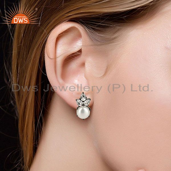 Suppliers Black Oxidized Sterling Silver Crystal Quartz & Pearl Prong Set Studs Earrings