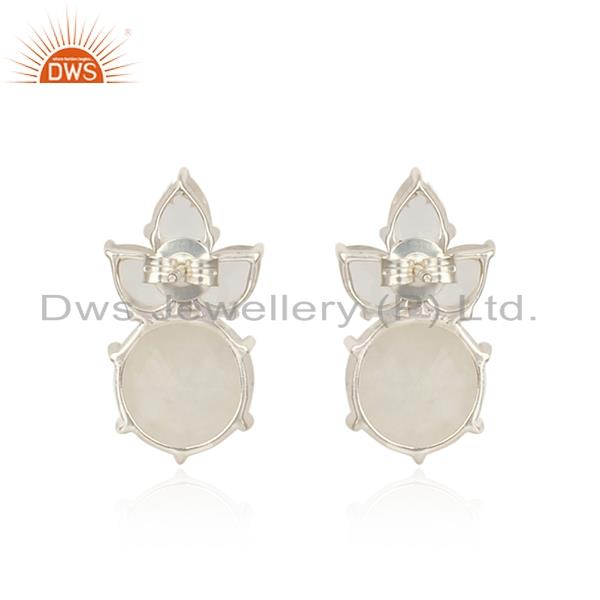 Designer of Floral silver studs with rainbow moonstone, crystal quartz
