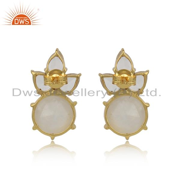 Designer of Floral gold plated silver studs with rainbow moonstone, crystal