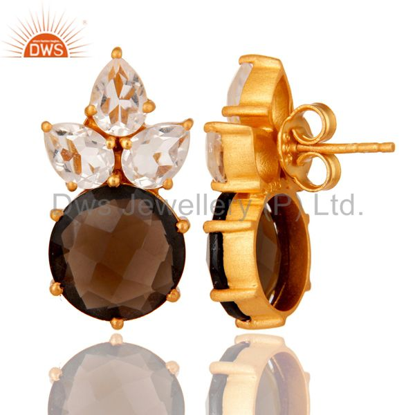 Designers Gold Plated Sterling Silver Crystal Quartz And Smoky Quartz Post Stud Earring
