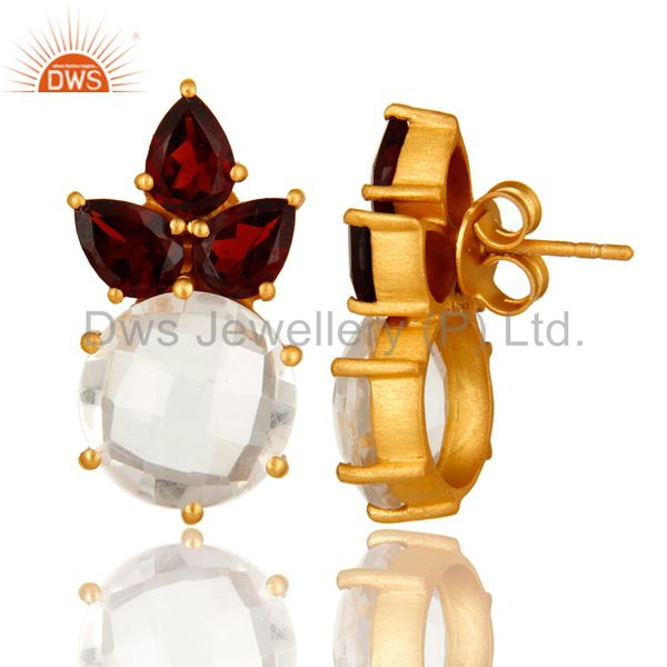 Designers 14K Yellow Gold Plated Sterling Silver Garnet And Crystal Quartz Stud Earrings