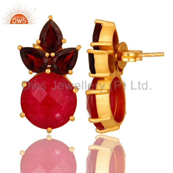 Designers 18K Gold Plated Sterling Silver Garnet And Red Aventurine Post Stud Earrings