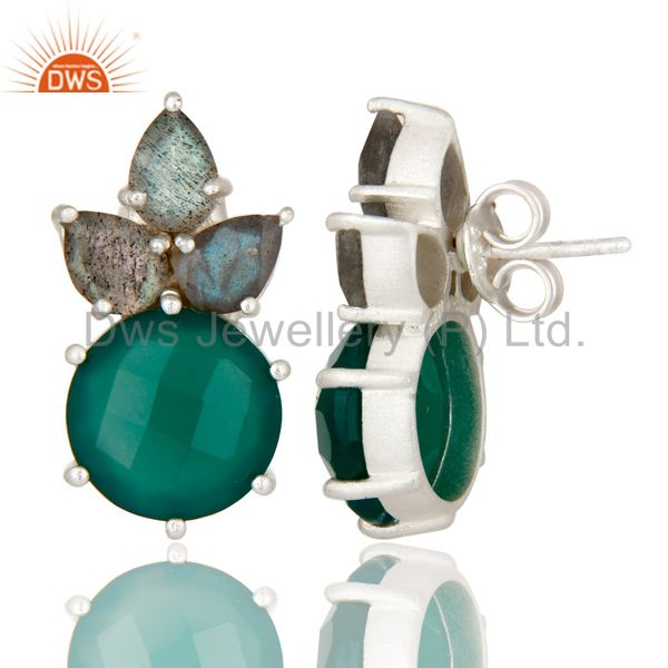 Designers 925 Sterling Silver Green Onyx And Labradorite Prong Set Gemstone Stud Earrings