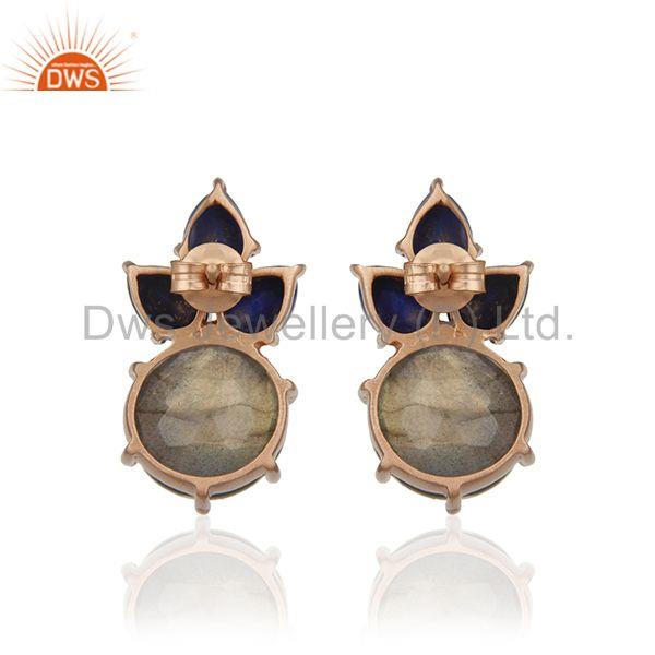 Suppliers Labradorite Gemstone 925 Silver Rose Gold Plated Stud Earrings Manufacturer