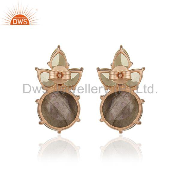 Suppliers Labradorite and Lemon Topaz Gemstone Rose Gold Plated Silver Stud Earrings