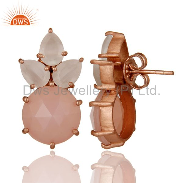 Designers 18K Rose Gold Plated Silver White Moonstone And Rose Chalcedony Stud Earrings
