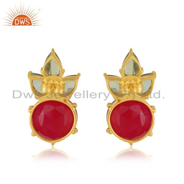 Suppliers Peridot and Pink Chalcedony 925 Silver Stud Earrings Manufacturer INdia