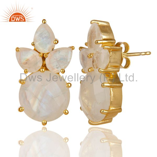 Suppliers 18K Gold Plated 925 Sterling Silver Rainbow Moonstone Prong Set Studs Earrings