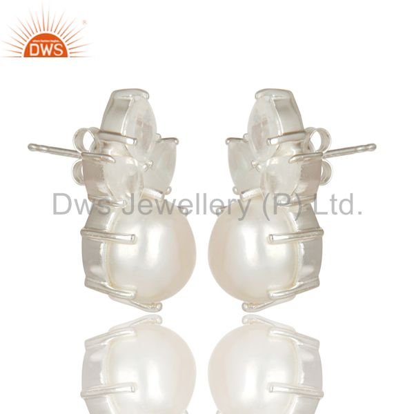 Suppliers Handmade Solid 925 Sterling Silver Pearl & Moonstone Prong Set Studs Earrings