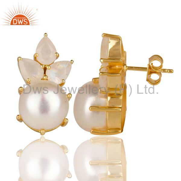 Suppliers 18K Gold Plated 925 Sterling Silver Pearl & Moonstone Prong Set Studs Earrings