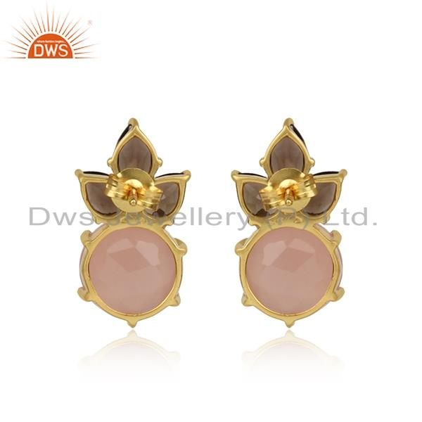 Designer of Floral gold plated silver earring with rose chalcedony and smoky