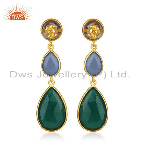Suppliers 925 Silver Gold Plated Multi Gemstone Dangle Earrings Wholesale Supplier