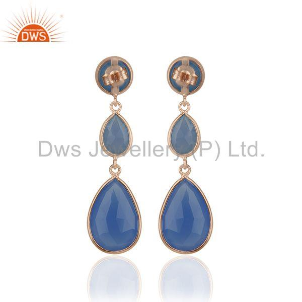 Suppliers Blue Chalcedony Gemstone Rose Gold Plated 925 Silver Dangle Earrings Supplier