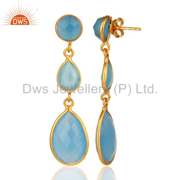 Designers Blue Aqua Chalcedony Faceted Gemstone Dangle Earrings In 18K Gold Over Sterling