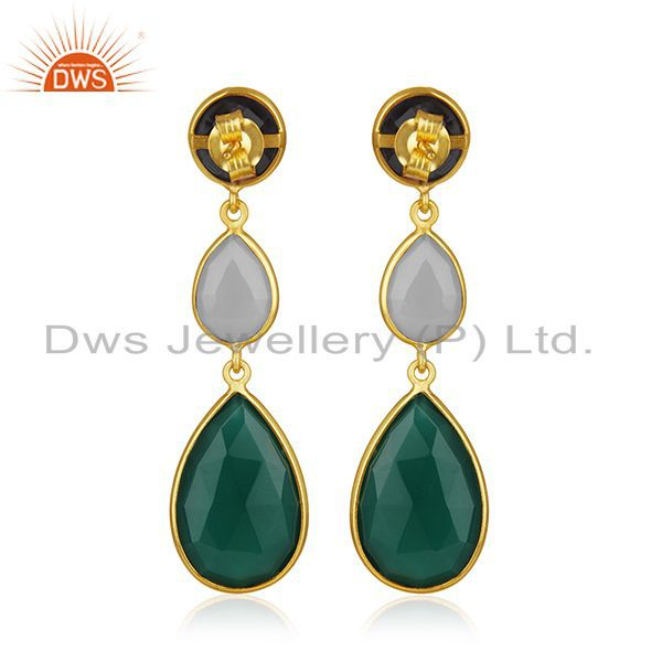 Suppliers Gold Plated 925 Silver Multi Gemstone Earring Manufacturer of Custom Jewelry