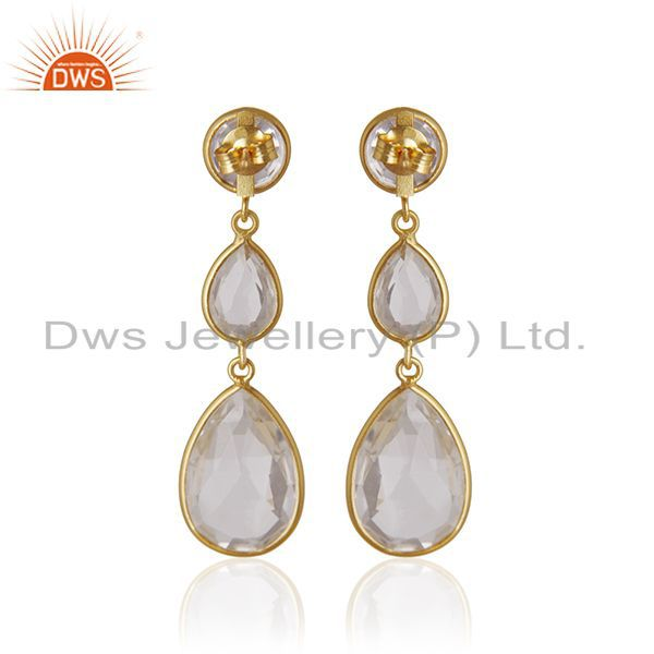 Suppliers Crystal Quartz Bezel Set Gemstone Sterling Silver Gold Plated Dangle Earrings