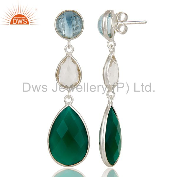 Designers Blue Topaz, Crystal Quartz & Green Onyx Solid 925 Sterling Silver Drops Earrings