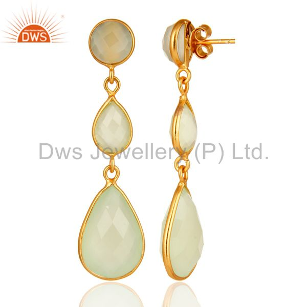 Designers Faceted Green Chalcedony Gold Plated Sterling Silver Womens Dangle Earrings